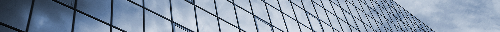 graphic logo, glass building facade