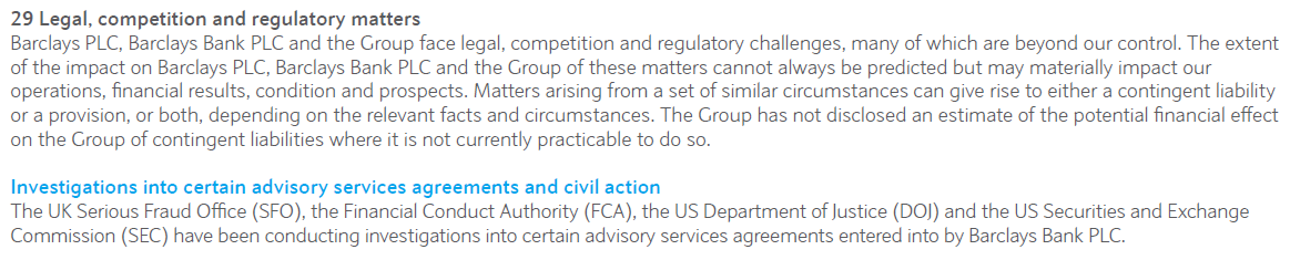 Barclays 2016 Annual Report Excerpt Investigations into certain advisory services agreements and civil action by SFO, FCA, DOJ, SEC