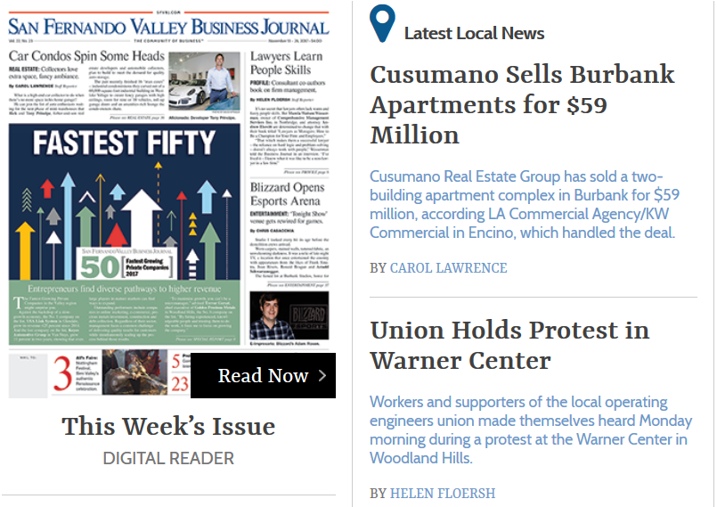 Capture of San Fernando Business Journal website showing headline, snippet, and by-line