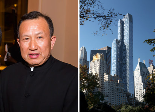 "Chinese airline executive Chen Guoqing (陈国庆) pictured beside One57, the ultra-luxury condominium building built by Extell Development where he has purchased four units. The New York Times has described the building as a ""blue-glass bastion of billionaires"" and a ""global billionaires club""."
