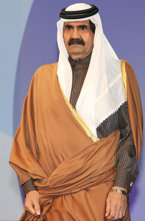 Former Emir of Qatar, Hamad Bin Khalifa Al Thani, whose brother Mohammed was involved in Kaupthing Bank's market manipulation controversy.