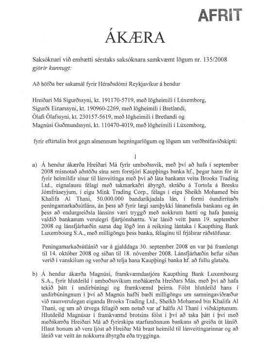 Image of March 2012 Indictment, in Icelandic