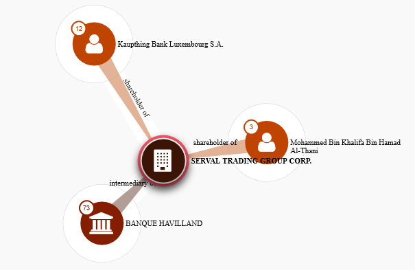 Serval Trading Group shareholder and intermediary relationship map