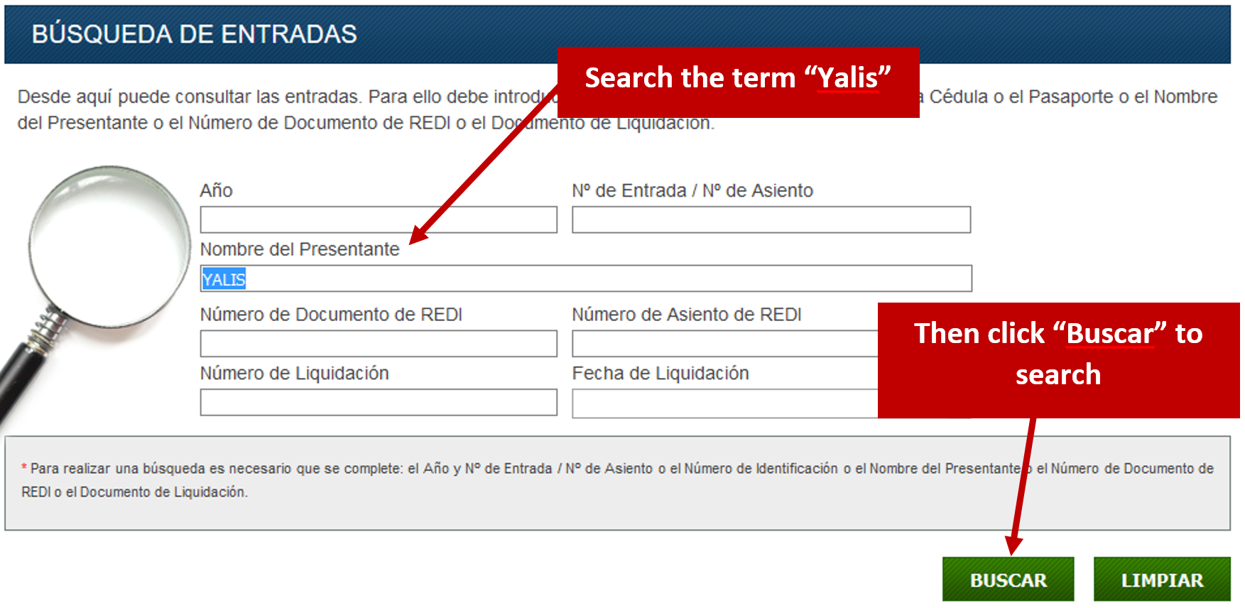 "screenshot of the ""Información Registral"" search page with arrows pointing to the ""Nombre del Presentante"" field where 'YALIS' has been entered and to the ""Buscar"" button which submits the search request"