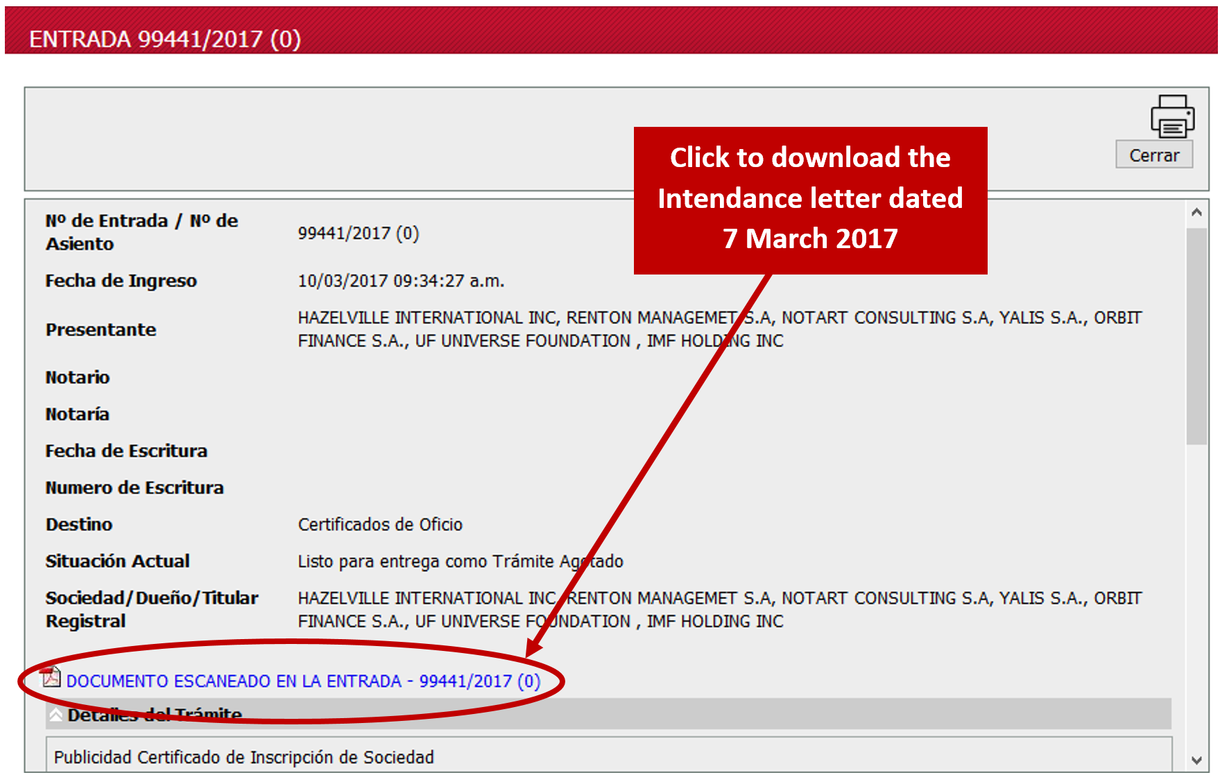 screenshot of the record description screen showing where to download the PDF record