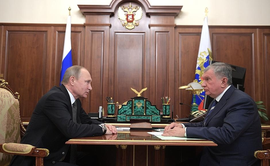 President of the Russian Federation Vladimir Putin with Rosneft CEO Igor Sechin, 7 December 2016