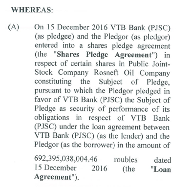 Mortgage documents from Singapore show VTB Bank initially issued a loan on 15 December 2016 to QHG Shares Pte for RUB 692 billion