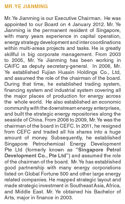 Excerpt from Ye biography in CEFC International Limited 2012 Annual Report