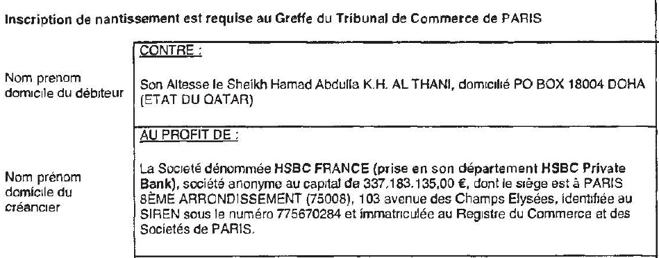 The EUR 45 million was borrowed by Abdullah Bin Khalifa's six sons, SCI Hotel Lambert's six shareholders. Most noteworthy his the eldest son, Hamad Bin Abdullah.